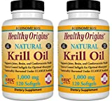 Krill Oil, 1000 mg, 120 Softgels by Healthy Origins (Pack of 2)