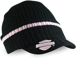 HARLEY-DAVIDSON Women's Striped H-D Embroidered Knit Cap, Black & Pink KN00891
