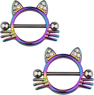 Jewelry 1 Pair(2Pcs) 14 G Nipple Rings Cat Shape Nipple Piercings Rings Stainless Steel Nipple Barbell Cute and Sexy Body Piercing Jewelry