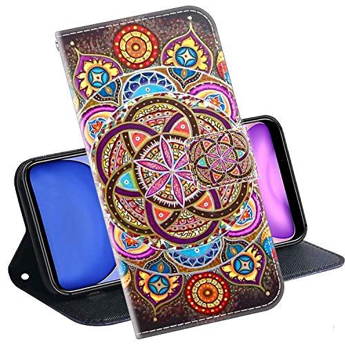 Kingyoe Handytasche Kompatibel mit HTC Desire 650 Handyhülle Schutzhülle Tasche für Handy HTC Desire 650 Hülle Leder Brieftasche Hülle Cover,PU Ledertasche Flip Hülle Lederhülle[Mandala]