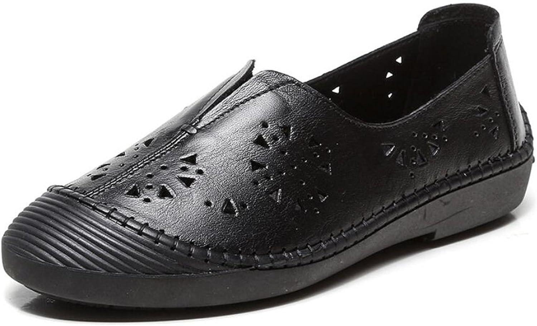 DANDANJIE Frauen Schuhe Sommer Handgefertigte Lederschuhe Hohle Flache Ferse Sandalen Für Walking Casual (Schwarz Wei) (Farbe   Schwarz, Gre   35)