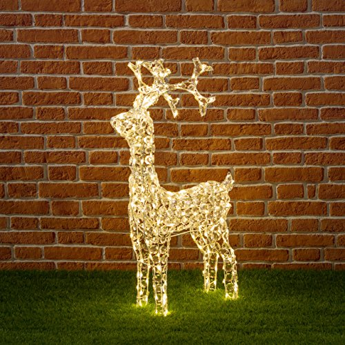 Xmas King Reno con Cristales, 90 cm, 200 LED luz cálida, decoración...
