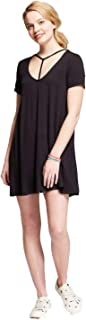 Mossimo Supply Co. Women's T-Shirt Dress with Neck Detail -Black-