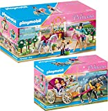 PLAYMOBIL Princess 70449 70450 - Juego de 2 carruaje romántico de caballos + clases de equitación en el establo para caballos