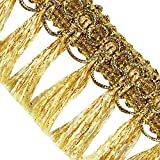 EMDOMO 20yards Braided Fringe Tassel Lace Ribbon Trim Gold Band Trimming for Clothes Decorated Sewing Accessories T2729 (Gold)