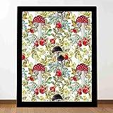 Proceso de impresión mural Dibujado a mano Setas Dogrose Hojas de otoño Bayas Amantias Decoración inspirada estudio dormitorio sala de estar