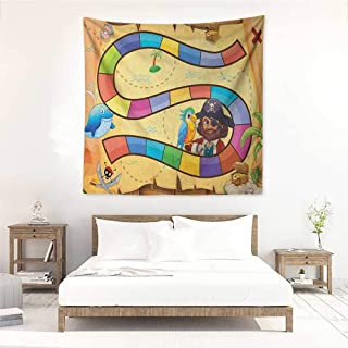 Willsd Kids Activity Decorative Tapestry Treasure Hunt in The Adventure of The Pirate Cove Cartoon Drawing Style Tapestry for Home Decor 55W x 55L INCH Multicolor