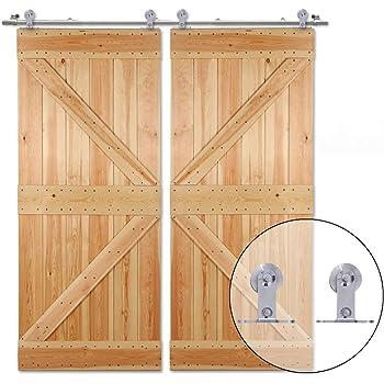 320CM/10.5FT Herraje para Puerta Corredera Acero Inoxidable Kit de Accesorios, Guia Riel Puertas Correderas, Forma T Puerta doble: Amazon.es: Bricolaje y herramientas