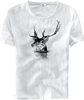 [XINXIKEJI] 白tシャツ メンズ ティシャツ おしゃれ ティーしゃつ メンズ 半袖 トップス メンズ 夏 ボーイズ 男の子 Tシャツ カジュアル 綿麻シャツ ゴルフウェア 上着 通勤 通学 日常用 M-3XL