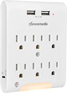 DEWENWILS Multi Outlet Adapter with 2 USB Charging Ports (3.1A total), Light Sensor LED Night Light, 6 Outlets Wall Plug E...