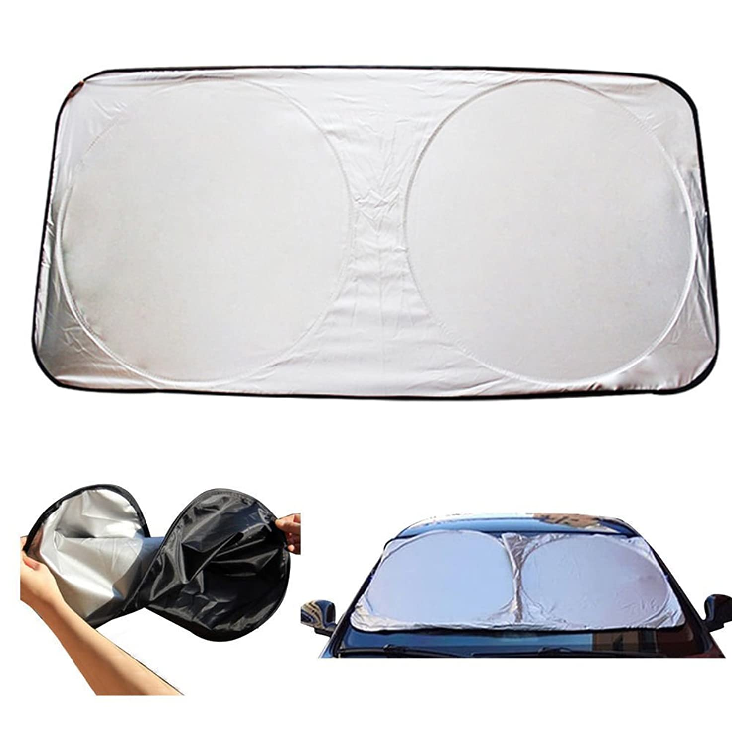 HugeStore Universal Large Silver Car Windscreen Windshield Sun Shade Visor Heat Reflective Front Rear Window