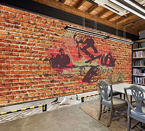 Wanghan 3D Tapete Individuelle Tapeten Europa Und Amerika Retro Red Brick Street Skateboard Graffiti Ktv Hintergrund Western Restaurant Cafe Fototapete-400Cmx280Cm
