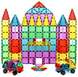 Magnet Build Magnet Tile Building Blocks Extra Strong Magnets & Super Durable 3D Tiles, Educational, Creative, Assorted Shapes & Vibrant Bright Colors (Set of 100)