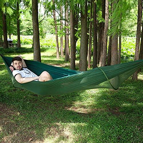 XHLLX Hamaca de gran tamaño para exteriores con mosquiteros para árboles, tela de paracaídas, mosquitera, hamaca de 300 kg, capacidad de carga para interiores y exteriores