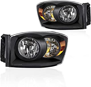 Headlights Assembly for 2006-2008 Dodge Ram 1500 Pickup 2006-2009 Ram 2500 3500 Pickup with Black Housing Amber Reflector Clear Lens Headlamps Replace 68003125AB, 68003124AB