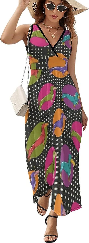 Yiaoflying Women's Beach Maxi Dress Neck - Industry No. Ranking TOP15 1 Rainbow V Dachshunds