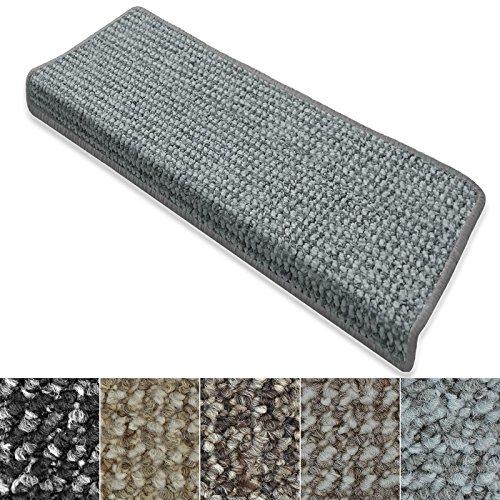casa pura Stufenmatten Carlton | Flachgewebe dezent Gemustert | Treppenteppich in Zwei Formen | mit Teppich Läufer kombinierbar (Hellgrau - rechteckig - 15 Stück)