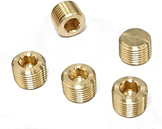 Tanya Hardware Brass Pipe Fitting, Hex Counter Sunk Plug, 1/8 Inch NPT Male Pipe - 5 Pack