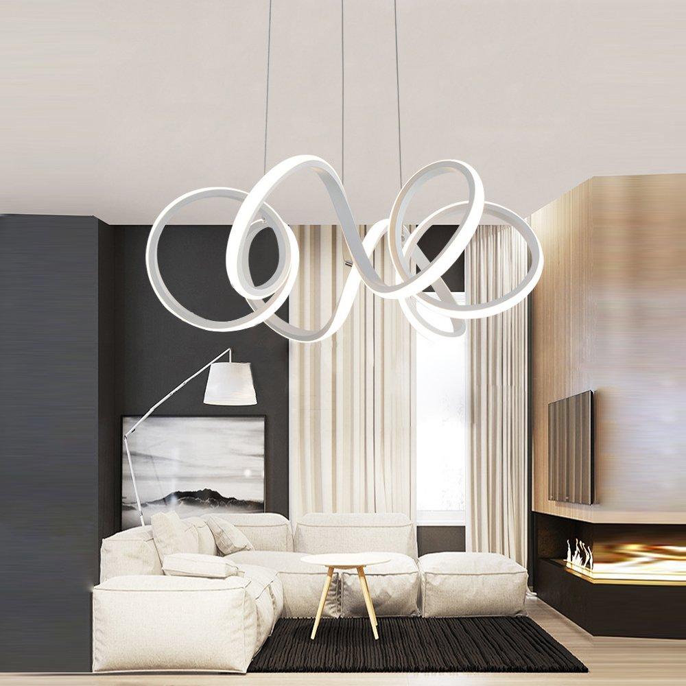 Lámpara colgante de diseño LED, lámpara de material acrílico para lámpara colgante, lámpara de mesa de comedor para lámpara colgante, oficina, estudio, lámpara colgante de lámpara de salón LED, 75W: Amazon.es: Iluminación