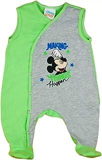 Babybogi Disney Mickey Mouse Baby Strampler Größe 56 62 Baby Kleidung Jungen in grau-grün Baby Schlafanzug