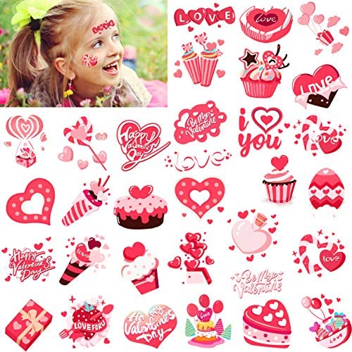 Konsait 64pcs Valentines Temporary Tattoos Valentine s Day Sticker Red Pink Heart Tattoos for product image