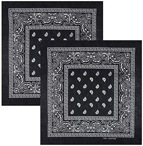 Feelinko - Pañuelo multifunción original de cachemira, 100% algodón, pañuelo multifunción unisex 2 negro. 55 x 55 cm