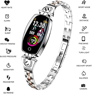 Morenitor Fitness Trackers with Blood Pressure Monitor, Luxury Fashion Charm Waterproof Smart Watch Heart Rate Monitor Sleep Activity Trackers Mothers Day Jewelry Gifts for Women Men
