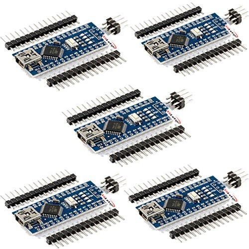 HiLetgo 5pcs Mini USB Nano V3.0 ATmega328P CH340G 5V 16M Micro-controller Board for Arduino Nano