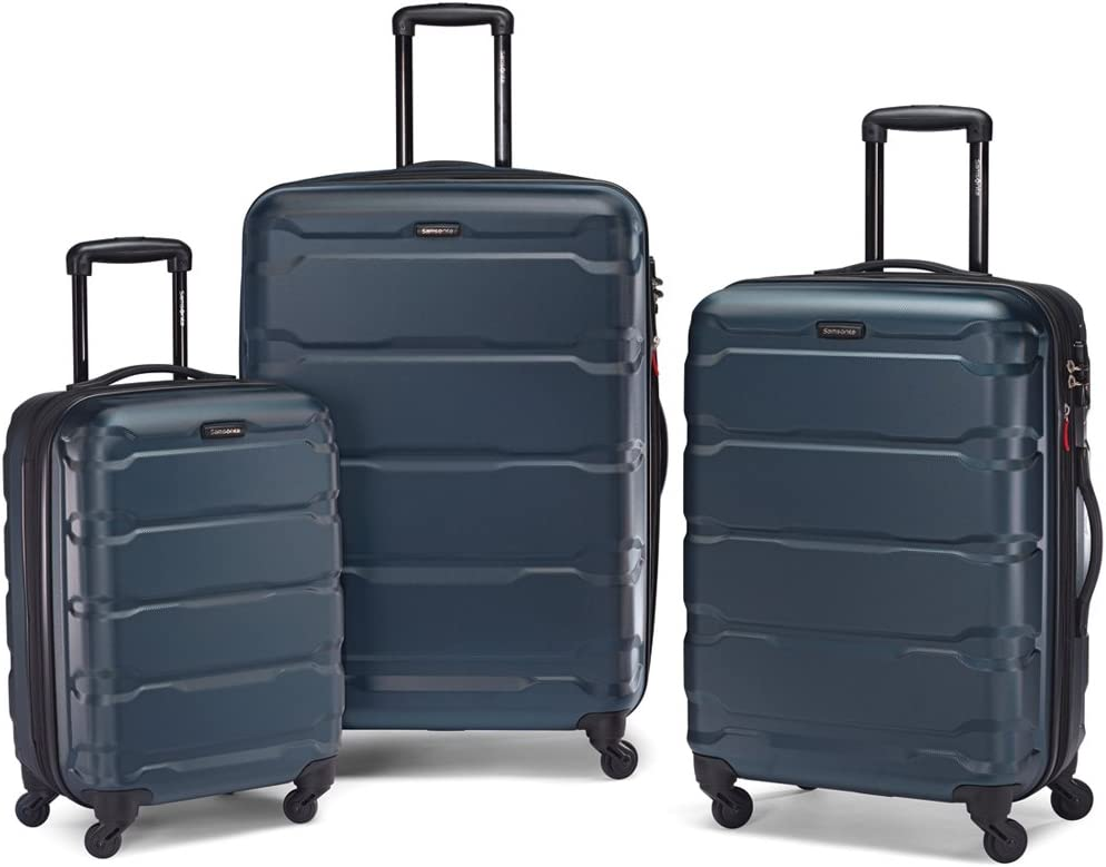 10 Item 24 Inch Samsonite 68311-1041 Omni Hardside Luggage Nested Spinner Set 20 Inch Black Bundle w//Deco Gear Luggage Accessory Kit 28 Inch