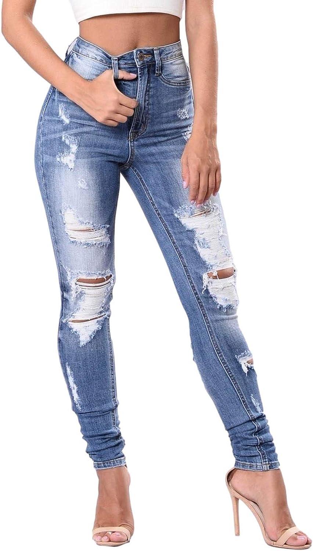 LONEA Women's Boho Skinny Ripped Jeans Stretch Distressed Casual Denim Button Zipper Pocket Pants