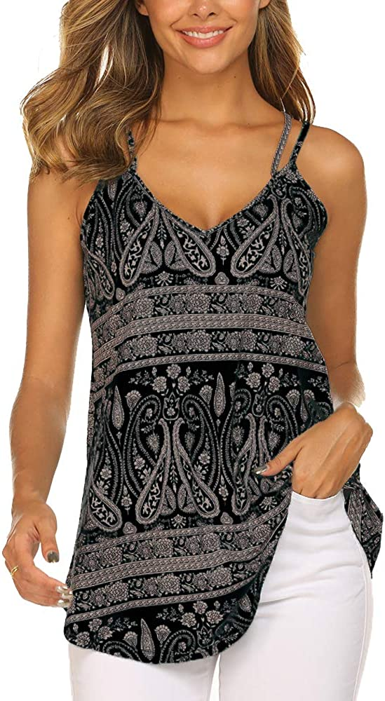 OURS Women's Casual Floral Print Double Spaghetti Strap Tunic Tops Summer V Neck Paisley Sleeveless Tank Shirts