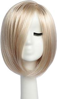 BESTUNG Bob corto pelucas rectas para mujer Peluca completa Ombre natural Rubia Pelucas sintéticas Cabello estilo Harajuku para fiesta de Cosplay con gorro de peluca