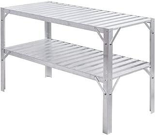 LHONE Aluminum Workbench Oranizer Greenhouse Prepare Work Potting Table Storage Garage Shelves Silver
