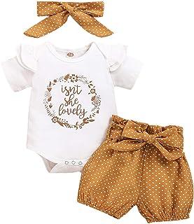 FYMNSI Baby Mädchen Sommer Outfit Kurzarm Rüschen Strampler  Blumen Drucken Shorts  Stirnband 3tlg Bekleidungsset für 0-18 Monate