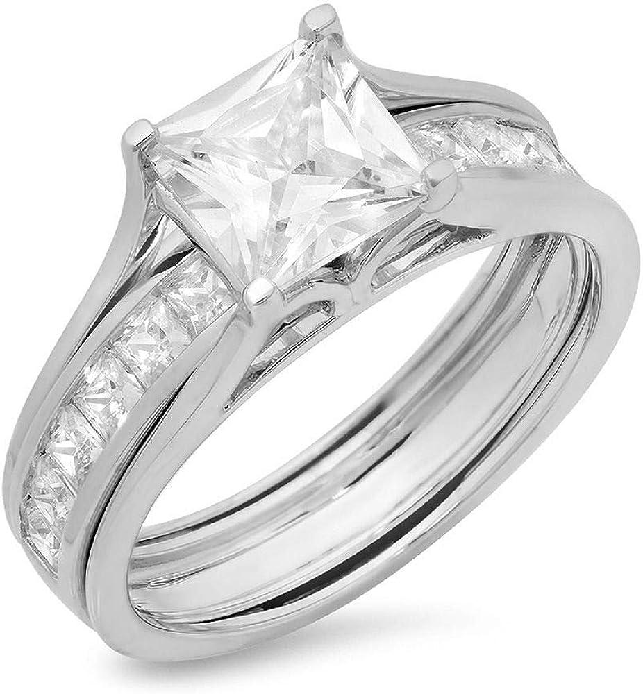 Clara Pucci 3.40 CT Princess Cut Simulated Diamond CZ Pave Halo Bridal Engagement Wedding Ring Band Set 14k White Gold