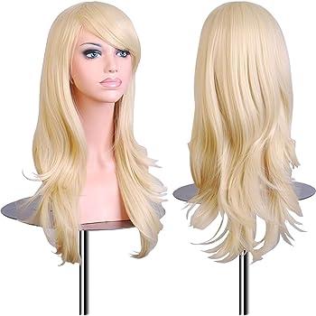"""EmaxDesign Wigs 70 cm/28 """"~ di alta qualità Cosplay parrucca per le donne lunga ricci e ondulati resistente al calore Fashion Glamour Hairpiece con parrucca e Parrucca pettine(colore:biondo chiaro)"""