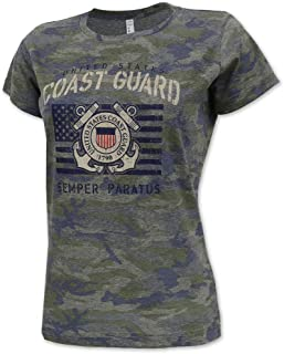 Vintage United States Coast Guard Ladies Camo Stencil T-Shirt