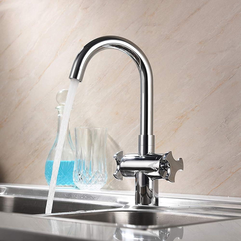 BFTAPS Traditional Kitchen Sink Mixer Tap Dual Handles Monobloc Swivel Spout Chrome all Brass Hot Cold Taps,SilverFaucet