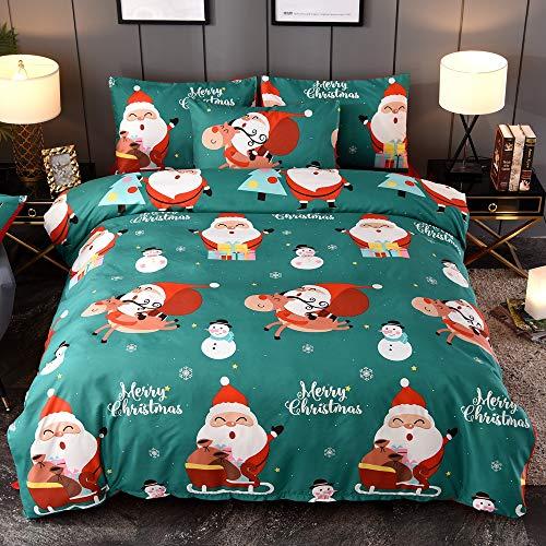 "IMee Christmas Duvet Cover Sets,3 Pieces Santa Claus New Year Decorations Pattern Green Bedding Set, with Hidden Zipper Design Super Soft (Queen 90""x90"")"