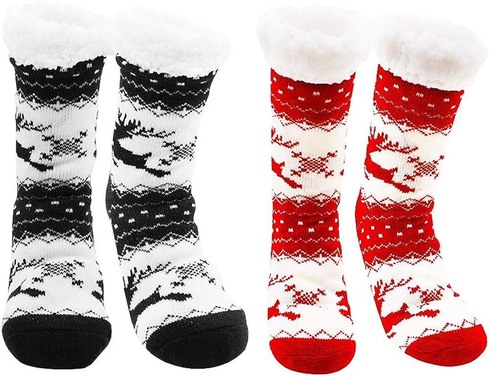 STONCEL Christmas Socks, 2PCS Fleece Lining Fuzzy Soft Slipper Socks, Xmas Grippers Thermal Socks, Winter Warm Thick Animal Reindeer Home Casual Cotton Crew Socks for Women, Girls