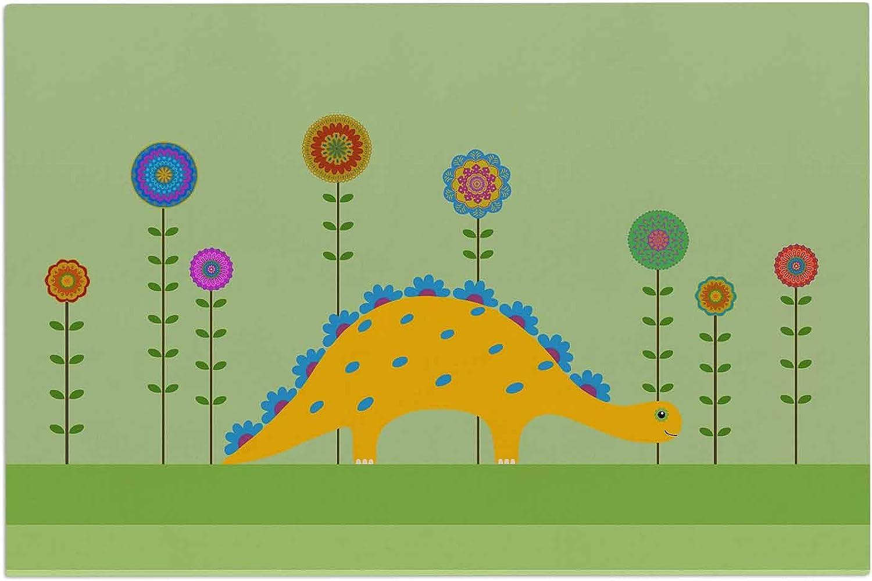 KESS InHouse Cristina Bianco Design Cute Dinosaur Green Yellow Illustration Decorative Door, 2' x 3' Floor Mat