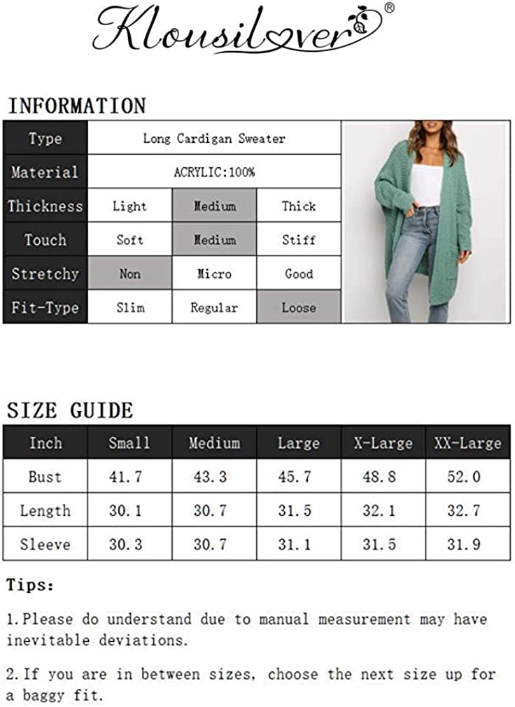 Klousilover Womens Loose Open Front Cardigan Sweaters Long Sleeve Kimono Knit Outwear with Pocket Grey