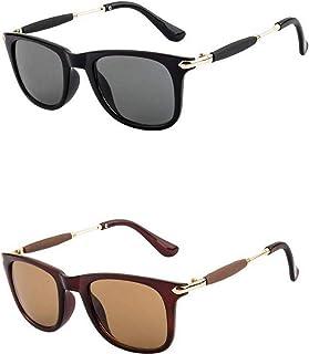 Dervin Rectangular Unisex Sunglasses - Combo of 2 (Black & Brown)