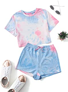 Romwe Girl's 2 Piece Outfit Tie Dye Short Sleeve Crop Top and Shorts Clothing Set