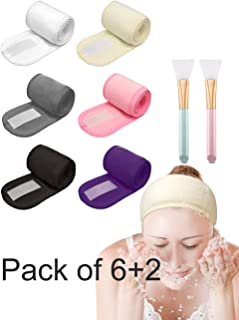 EUICAE Spa Headband Hair Wrap Sweat Headband Head Wrap Hair Towel Wrap Non-slip Stretchable Washable Makeup Headband for Face Wash Facial Treatment Sport Pack of 6 with 2 Facial Mask Brush Fits All