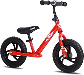 joystar 12/14 Inch Kids Balance Bike for Boys & Girls 2 3 4 5 6 Years Old, Push Bike for Toddlers with Footrest & Handlebar Protect Pad, Kids Glider Bike, Blue, Red, Pink