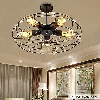 Lámpara de techo retro industrial, lámpara de techo E27, 5 bombillas, ventilador, lámpara industrial, ventilador