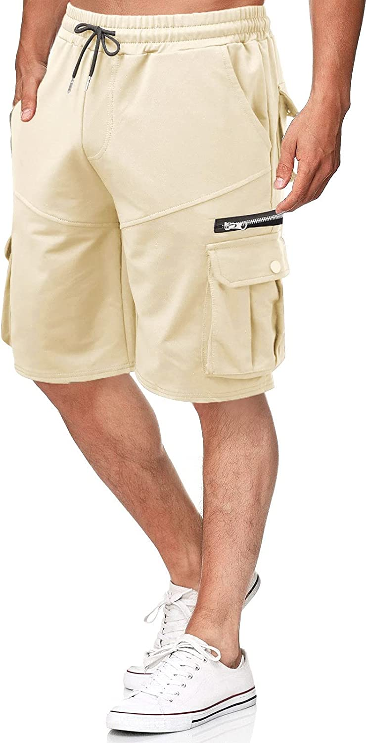 YANH 2021 Men's Loose Plus Size Five-Point Classic Cargo Shorts Casual Pants Solid Color Summer Shorts Loose-Fit Shorts