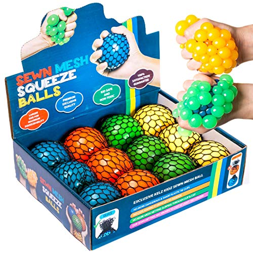KELZ KIDZ Quality & Durable Large (2.9 Inch) Mesh Squishy Balls with Exclusive Sewn Mesh! (Multi, 12 Pack)