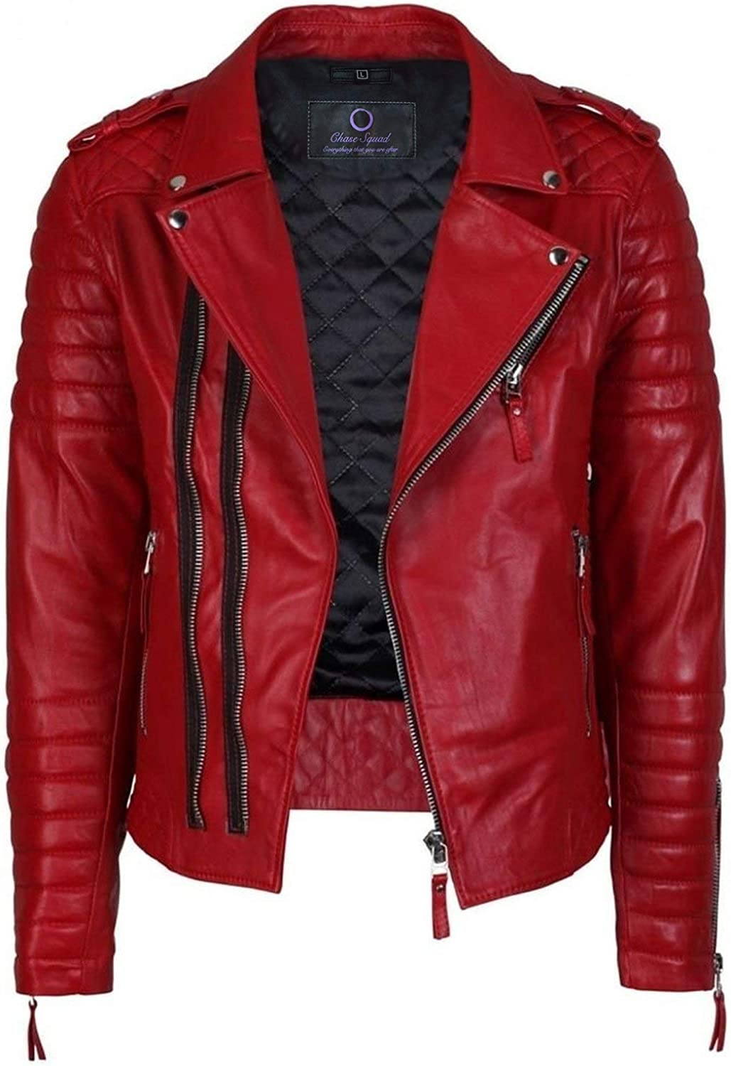 Chase Squad Bloody Red Notch Collar Faux Leather Jacket Women  Quilted Faux Leather Jacket Girls
